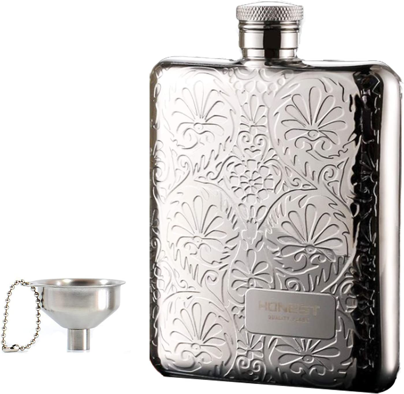 UonlyU Hip Flask with Funnel, 6 OZ Hip Flask with Gift Box,18/8 304 Food Grade Stainless Steel Made, Portable Hip Flask (Flower)