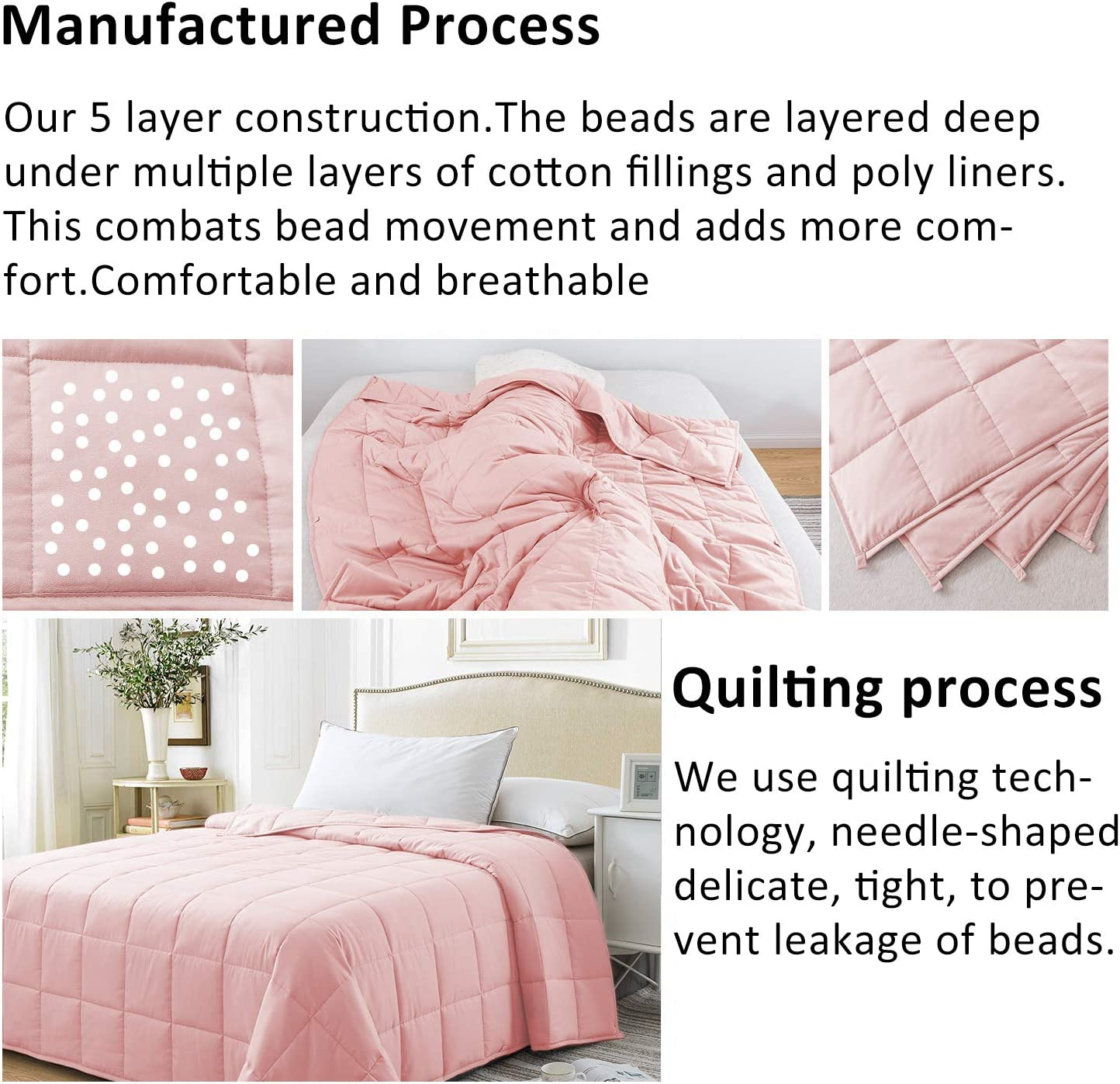 Best Adult Heavy Calming Blanket High Degrees of Breathability Cosymax Weighted Blanket 3.0,100/% Soft Sensory Cotton,High Density Glass Beads Filling Shell Pink, 48 x72 15lbs
