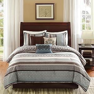 Madison Park Princeton Queen Size Bed Comforter Set Bed in A Bag - Teal, Jacquard Patterned Striped – 7 Pieces Bedding Sets – Ultra Soft Microfiber Bedroom Comforters