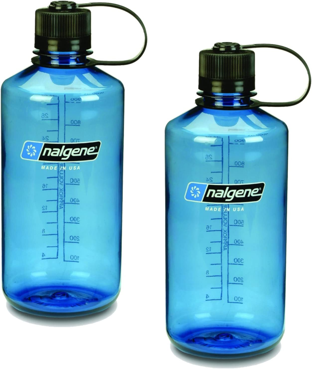 Slate Blue Set of 2 NALGENE Tritan 1-Quart Narrow Mouth BPA-Free Water Bottle