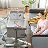 BABY JOY Baby Bedside Bassinet, Height Adjustable Portable Crib w/Music, Toy Rack, Mattress, Straps, Breathable Mesh & Carryi
