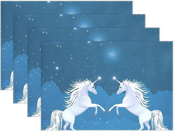 Manteles individuales de unicornio blanco, para decorar la mesa de ...