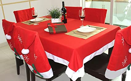Amazon.com: Christmas Santa Hat Chair Covers 6 Pack Dining ...