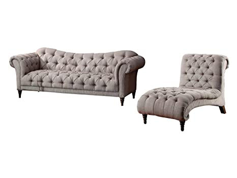 Terrific Amazon Com Stella French Button Tufted 2Pc Set Sofa Chair Evergreenethics Interior Chair Design Evergreenethicsorg
