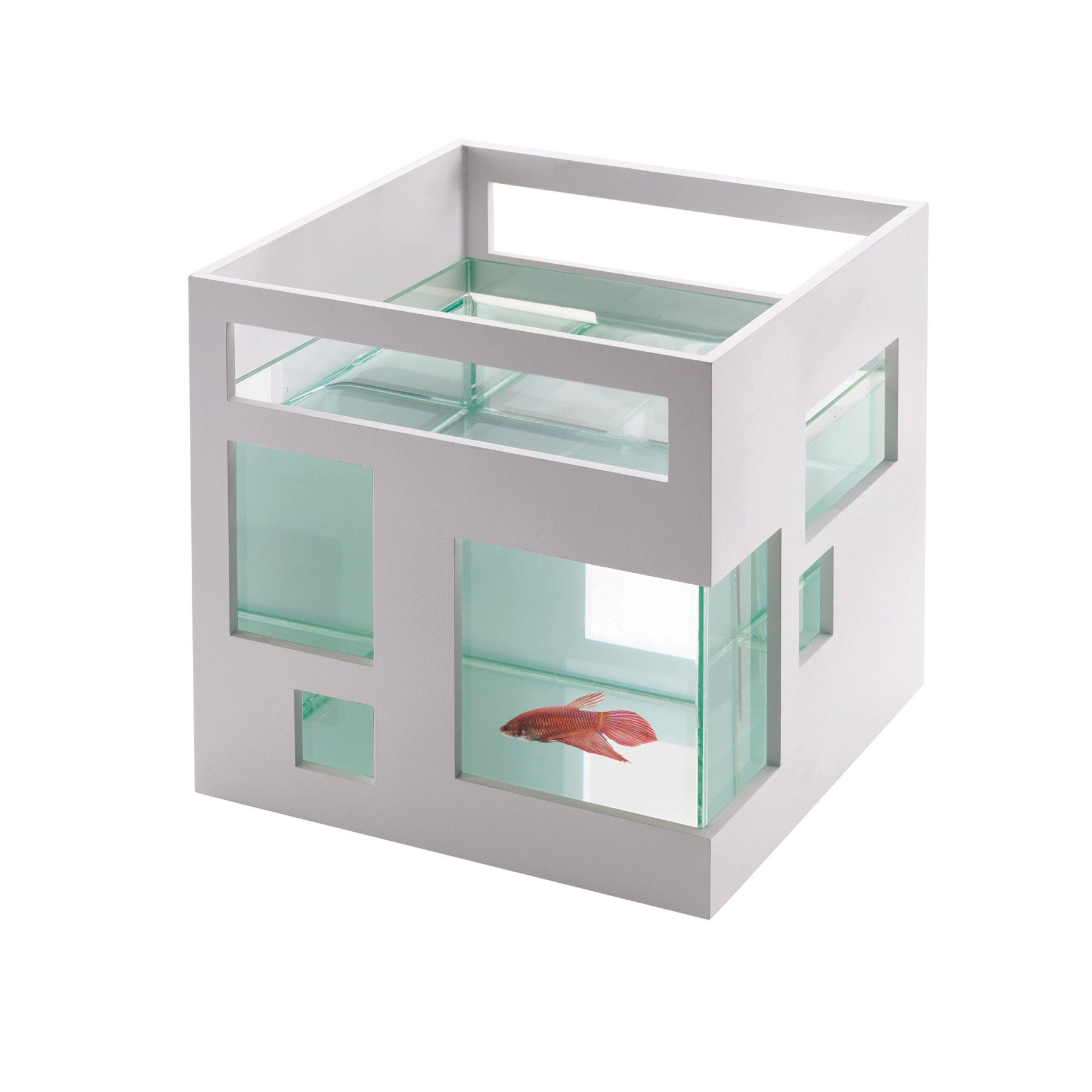 Umbra FishHotel Mini Aquarium, Great for Goldfish, Bettas, and Other Small Fish, 1.8 Gallon