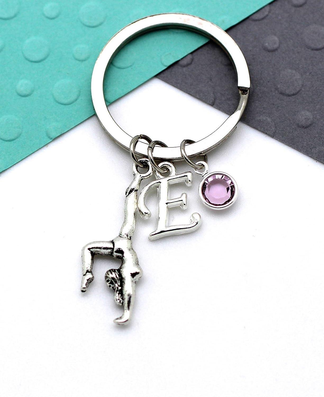 Gymnast Personalised Keychain Personalized Birthstone /& Initial Alphabet Gift Gymnastics Custom Keyring Letter