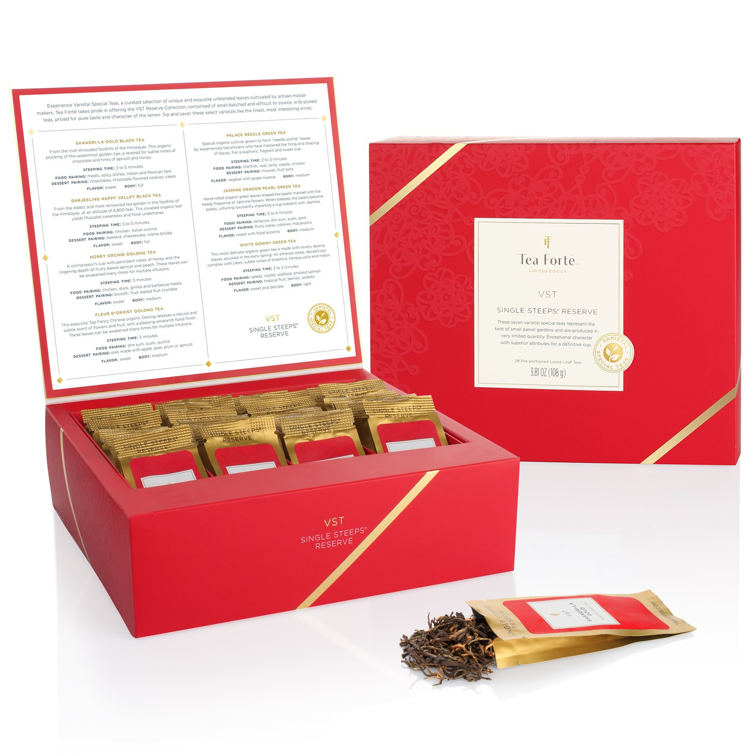 Tea Forté SINGLE STEEPS Loose Tea Sampler, Assorted Variety TEA CHEST, 28 Different Single Serve Pouches - Black Tea, Green Tea, White Tea, Herbal Tea Tea Forte