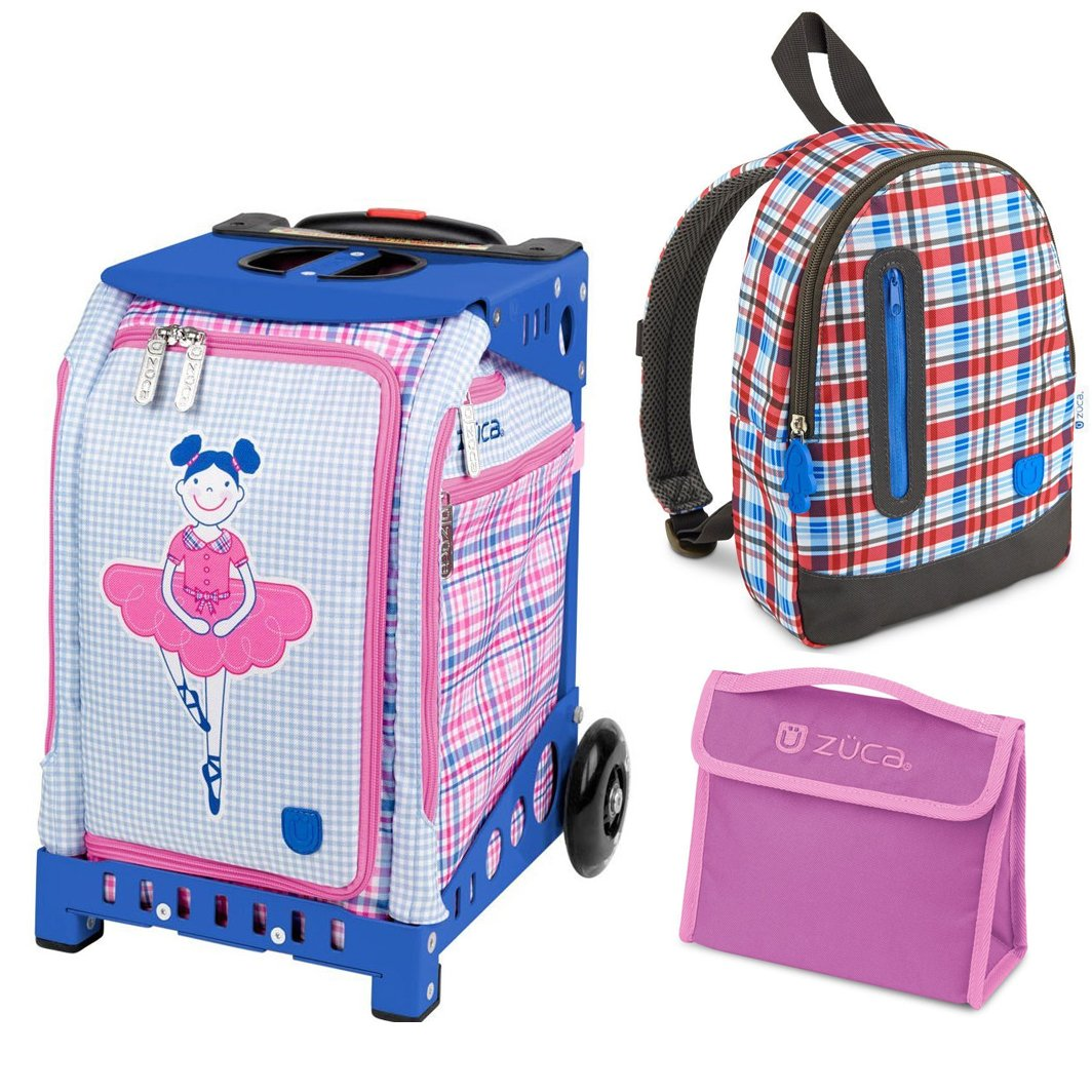 Zuca Kids Travel Kit - Mini Ballerina Rolling Bag with Blue Frame and Pink Sn.