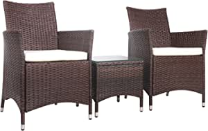 Gardeon Outdoor Chair Furniture Set with Table-Brown