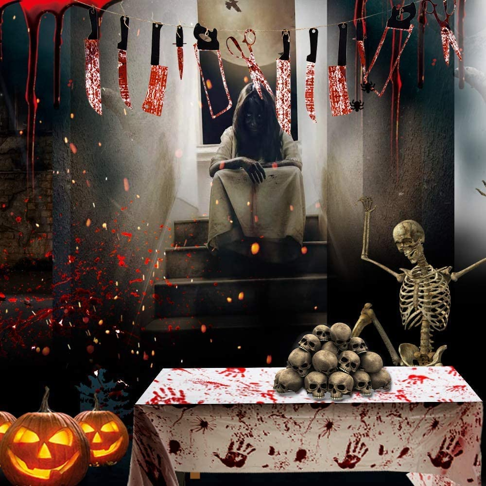 102 /×51in Scary Tablecloth Halloween Party Supplies Decoration 3 Pack Halloween Bloody Zombie Table Cover