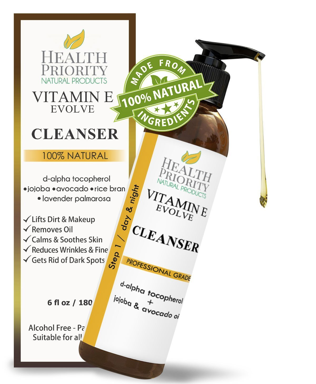 100% Natural Vitamin E Facial Cleanser. Best ever face wash for dry to oily skin. Anti-acne & anti-blemish clearing cleansers better than soap. Hypoallergenic face cleaner perfect for sensitive skin. (2 oz)