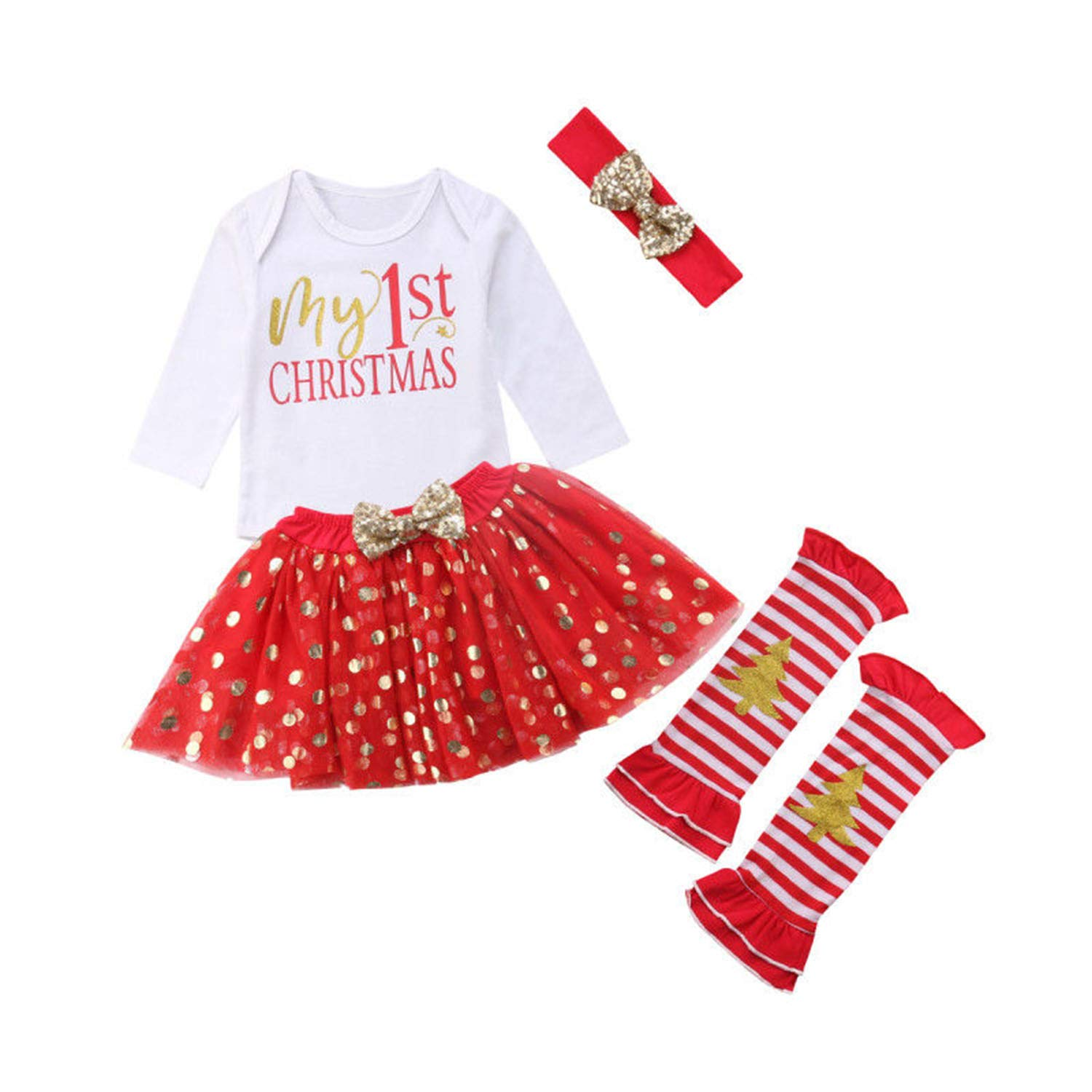 WIFORNT Baby Girls My 1st Christmas Outfits Romper Headband Leg Warmer Tutu Dress up