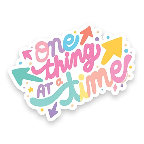 One Thing At a Time Art Vinyl Decals Positivity Sticker Inspirational Phrases Focus Quotes