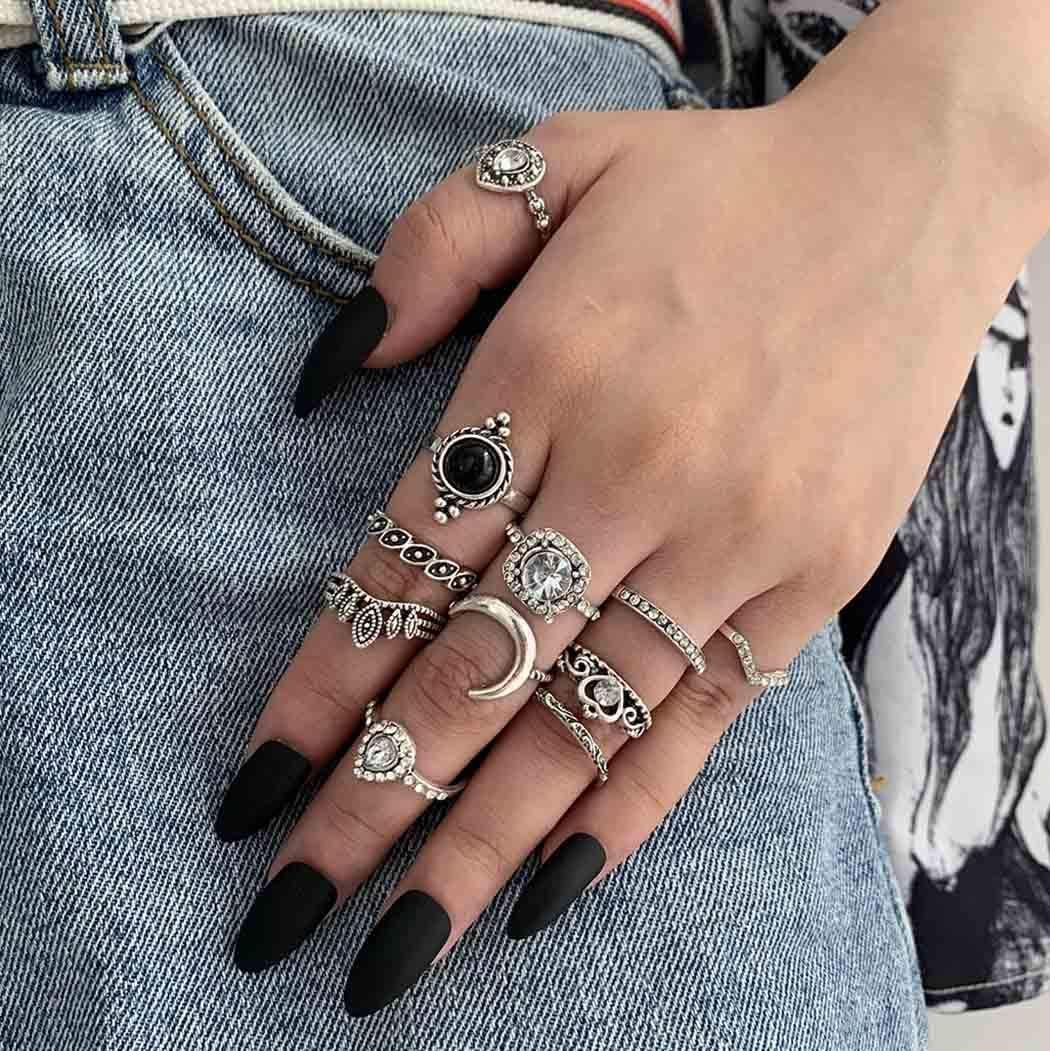 Fairvir - Juego de anillos vintage con piedras preciosas de luna huecas y nudillos bohemios, apilables, para mujeres y niñas (11 unidades)
