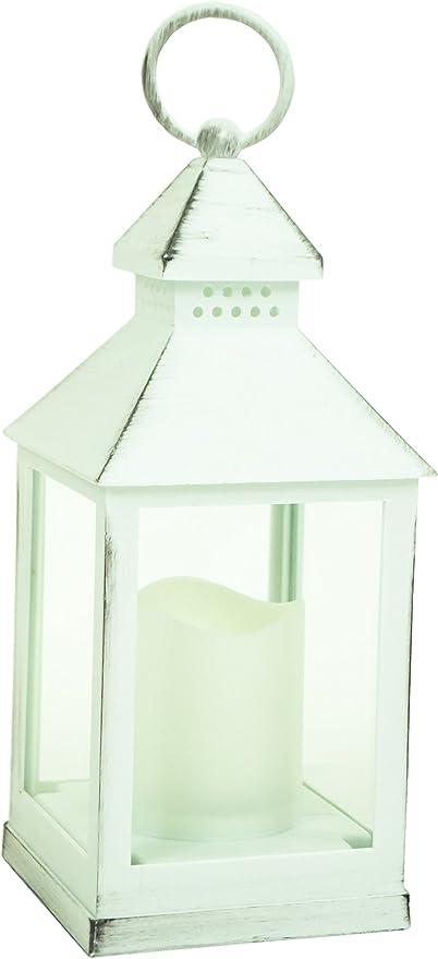 Madera efecto plástico 24 cm farol LED vela casa jardín decoración de la boda: Amazon.es: Hogar
