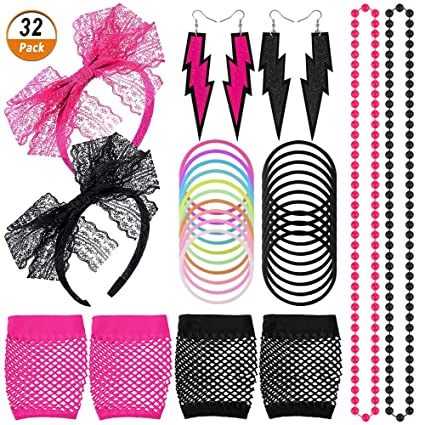 Womens 80s Costume Accessories Set Lips Print T-Shirt Lace Headband Earrings Necklace Bracelet for 80s Theme Party