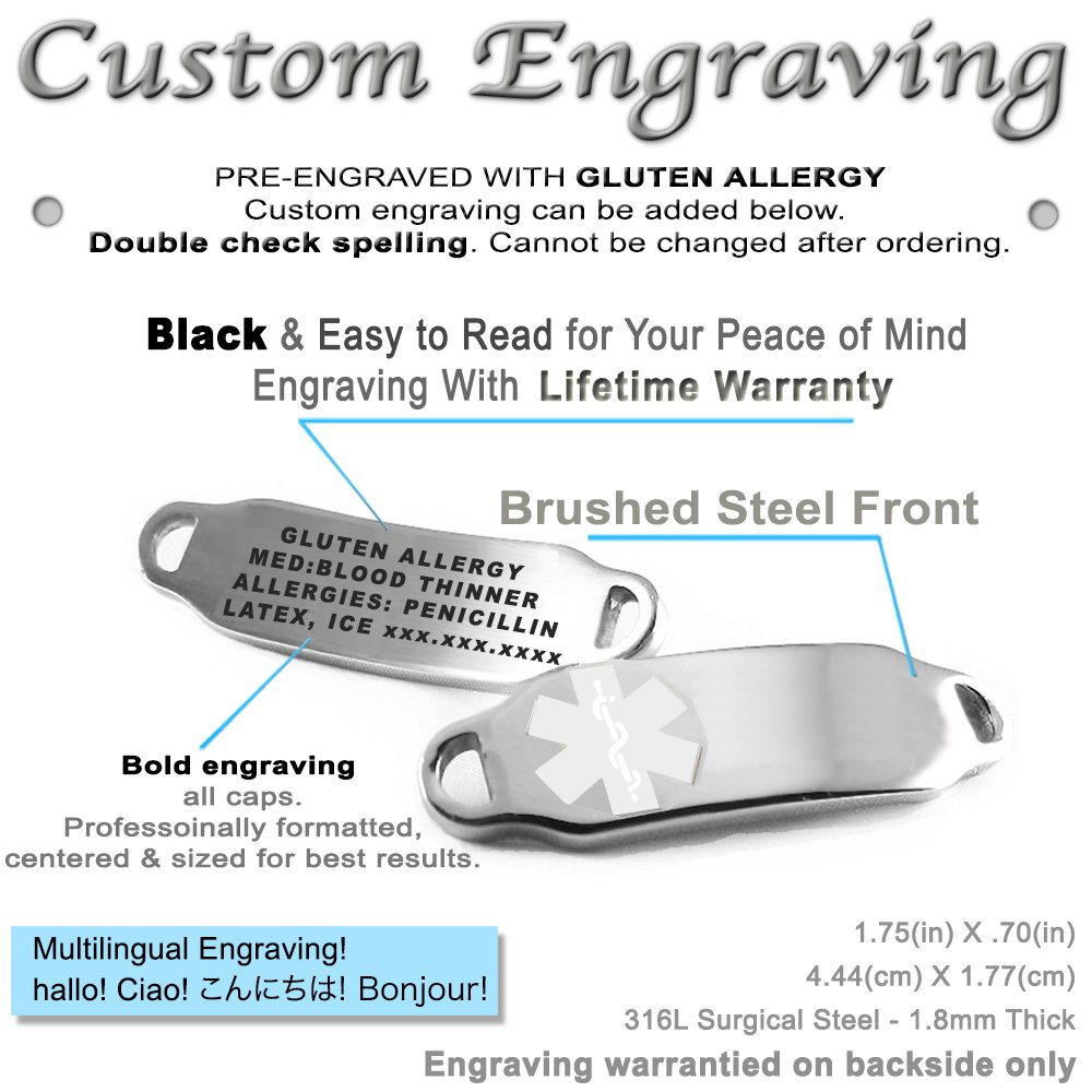 Pre-Engraved /& Customizable Gluten Allergy Toggle Medical Bracelet Steel Hearts White My Identity Doctor