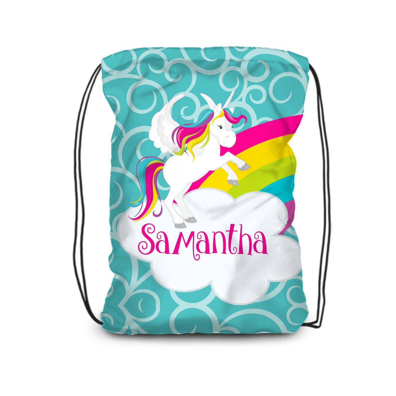 Unicorn Drawstring Backpack - Turquoise Magical Rainbow Unicorn Personalized Name Bag