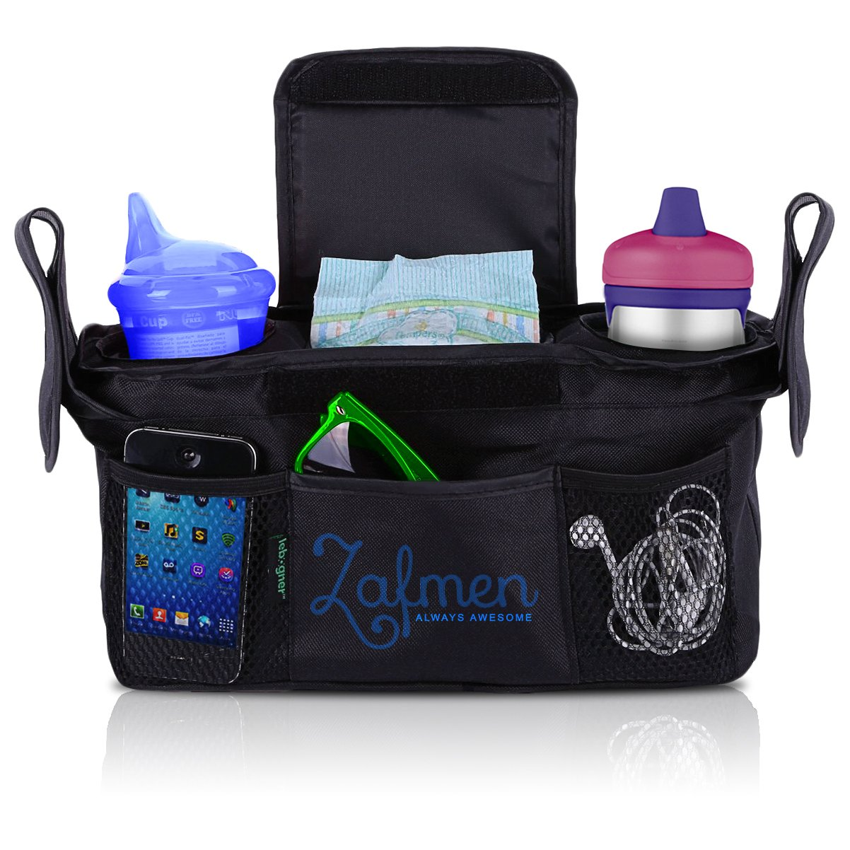 Stroller Organizer with Bonus Shoulder Strap - Baby Diaper Bag – Baby Accessory Bag – Baby Shower Gift – Water Proof & Eco-Friendly baby bag – Fits all Stroller – Stroller Organizer Baby Jogger by Zafmen (Image #1)