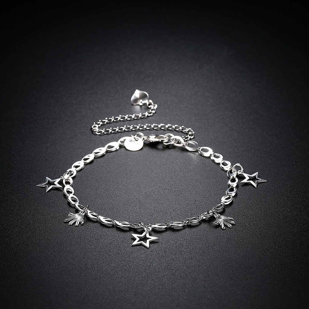 AMDXD Jewelry Silver Plated Anklets for Women Hollow Star Small Hands 1X1CM