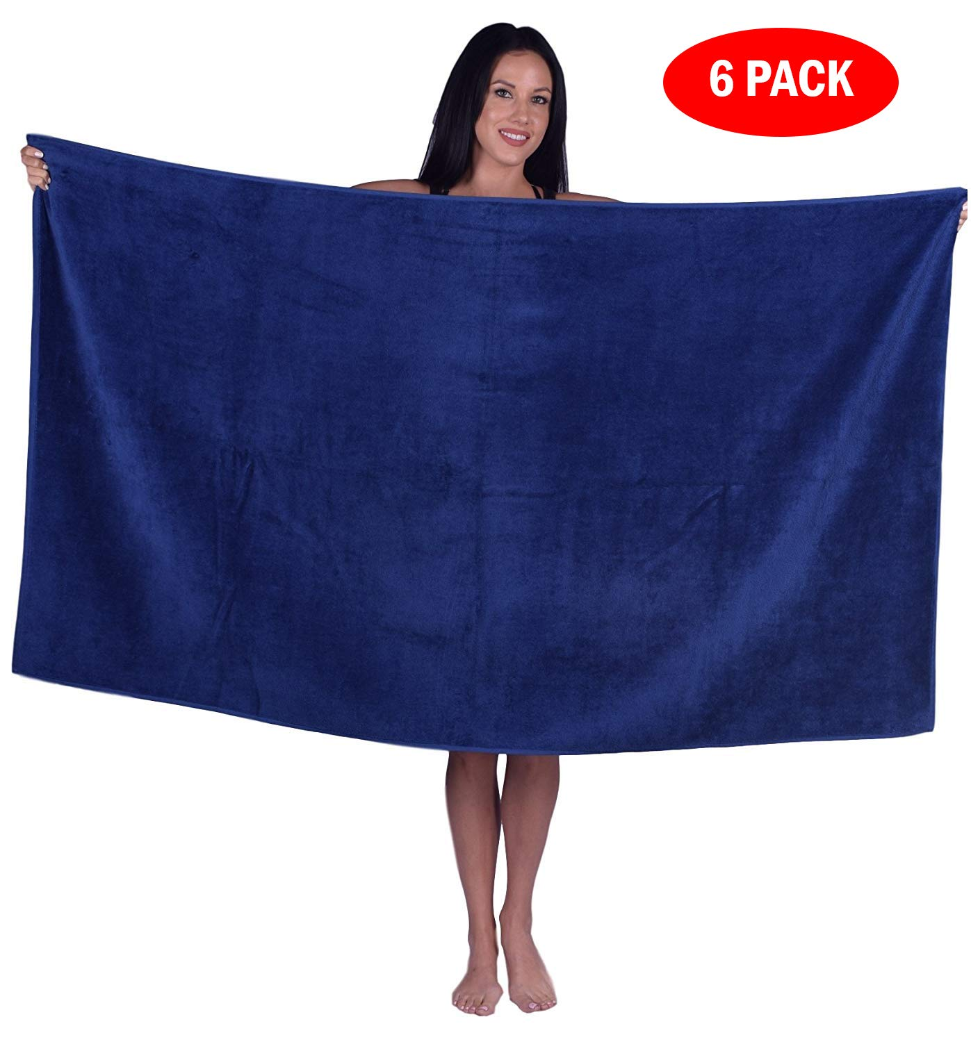 Turquoise Textile 100% Turkish Cotton Eco-Friendly Oversize Solid Pool Beach Towel, 35x60 Inch (6 Pack, Navy Blue)