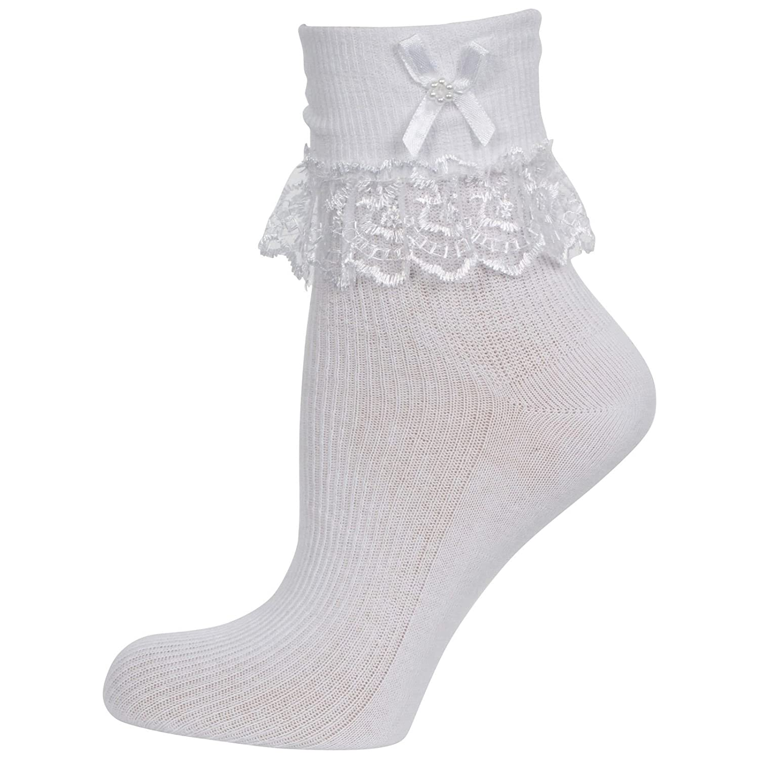 Cute Decorative Baby Girl White Cream/Ivory Frilly Lace Socks (Newborn to 10 years old) 10% with TWO more purchase