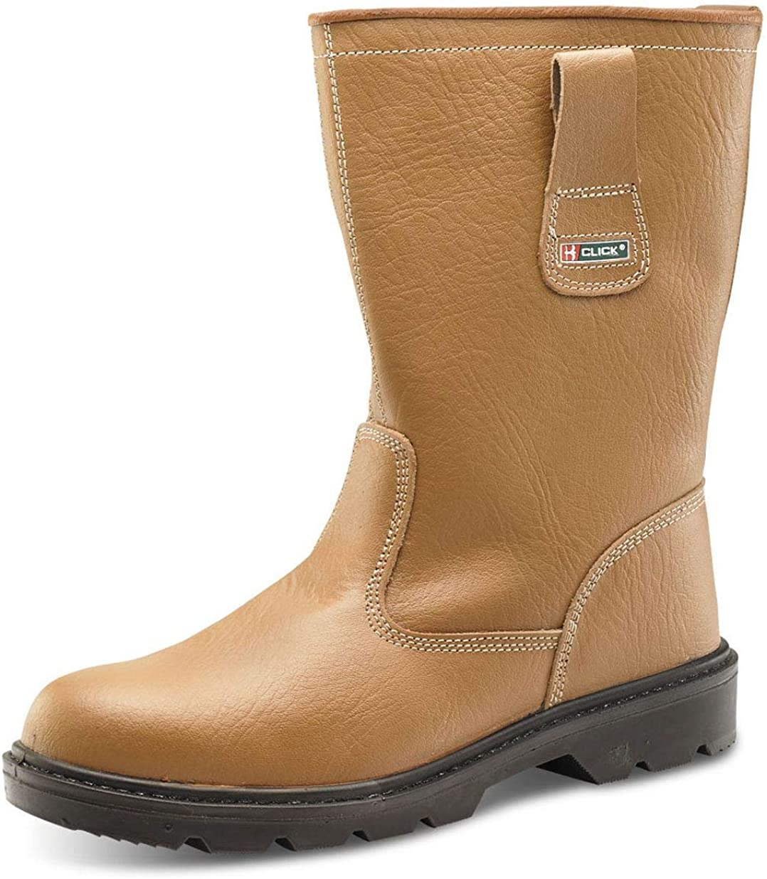 MENS TAN MID SOLE LEATHER SAFETY STEEL TOE CAP RIGGER FUR LINED BOOTS SIZE 9