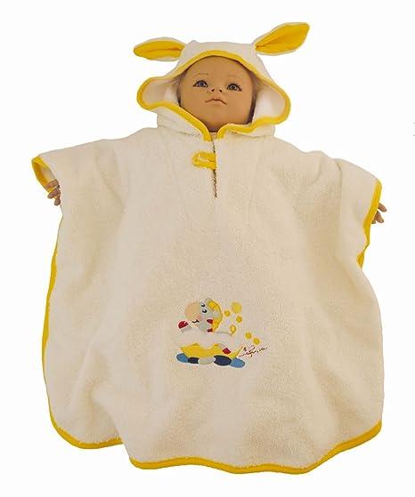 Bieco 44510003 Baby – Albornoz poncho de algodón 100%, Amarillo