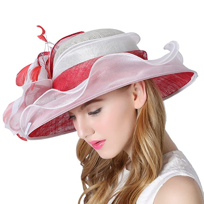 4e775b9c Koola's Women's Hats White Red Color Linen Hat Summer Sun Hats Church Hats:  Amazon.ca: Clothing & Accessories