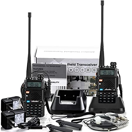 Ansoko Two Way Radio with Acoustic Tube Earpiece Dual Band walkie talkies VHF136-174 UHF400-520 MHz with FM Radio Reception 2 Pack