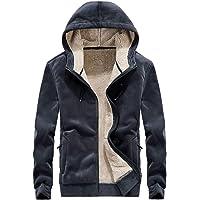 Flygo Men's Classic Sherpa Lined Full Zip Up Hoodies Sweatshirt Outwear Jacket