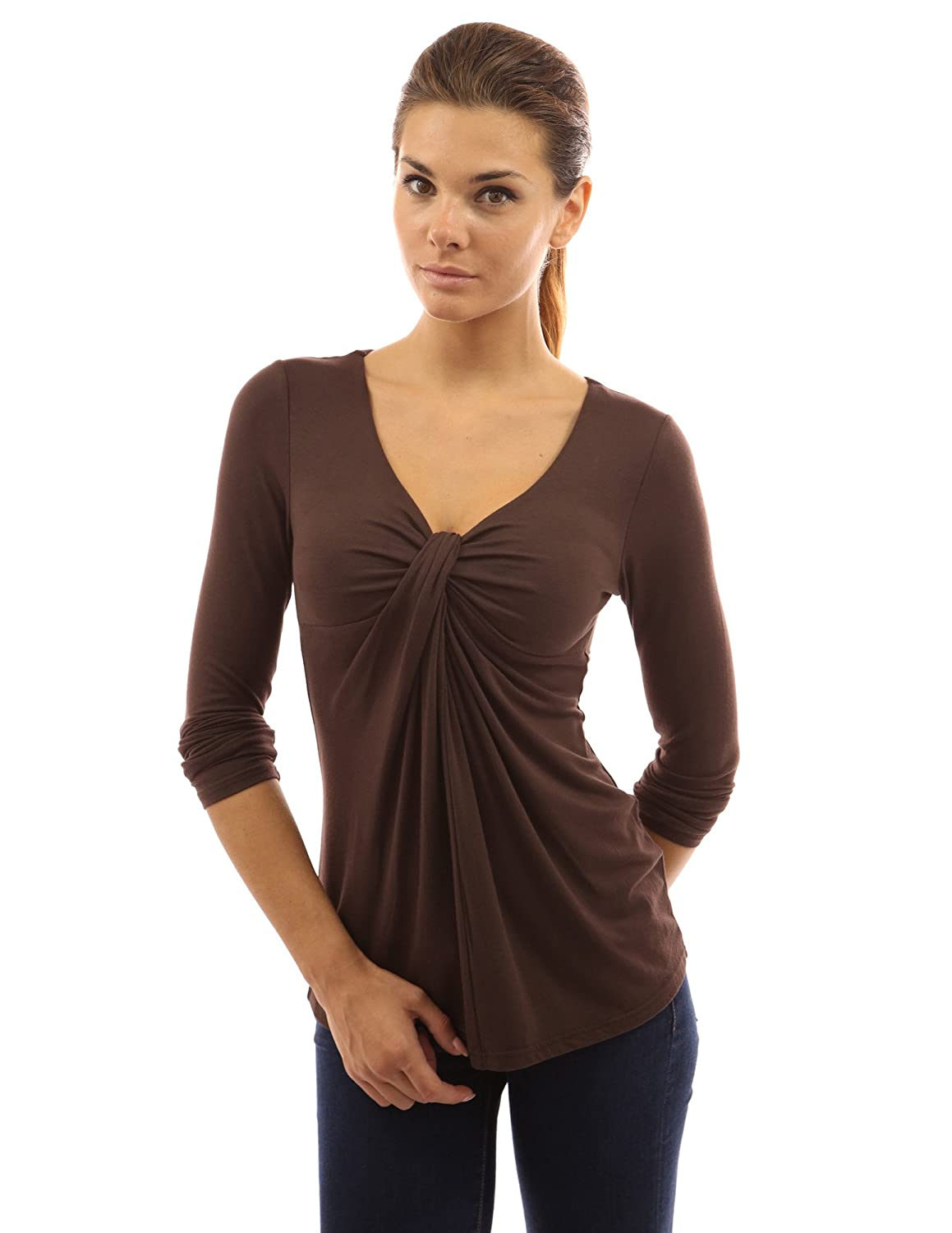 PattyBoutik Women's V Neck Ruched Twist Knot Front Long Sleeve Tunic