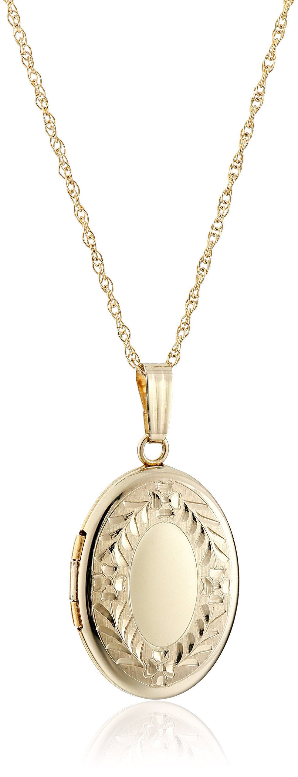 14k Yellow Gold Hand Engraved Oval Locket Necklace, 18''