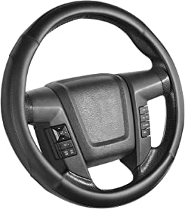 SEG Direct Car Steering Wheel Cover Large-Size for F150 F250 F350 Ram 4Runner Tacoma Tundra Range Rover Model S Xwith 15 1/2 inches-16 inches Outer Diameter, Black Microfiber Leather