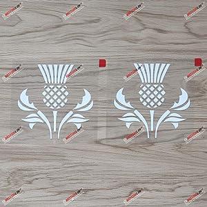 2X White 4 Inches Thistle Scottish Flower Decal Vinyl Sticker Car Laptop Window Scotland Style b