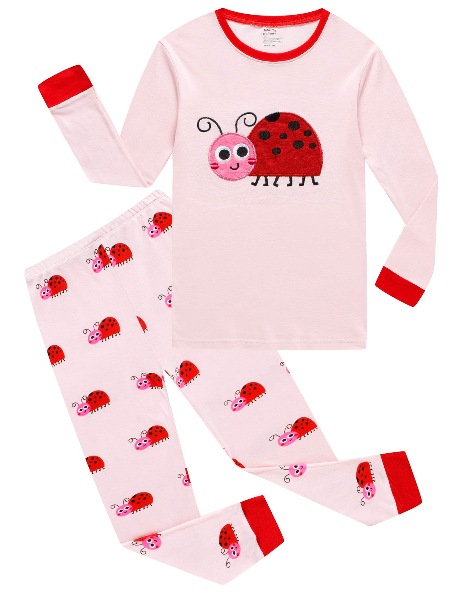 KikizYe Ladybug Big Girls Long Sleeve Pajama Sets 100% Cotton Pjs Size 12