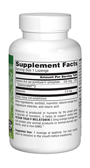 Amazon.com: SOURCE NATURALS Vegan True Melatonin 2.5 Mg Orange Lozenge, 60 Count: Health & Personal Care