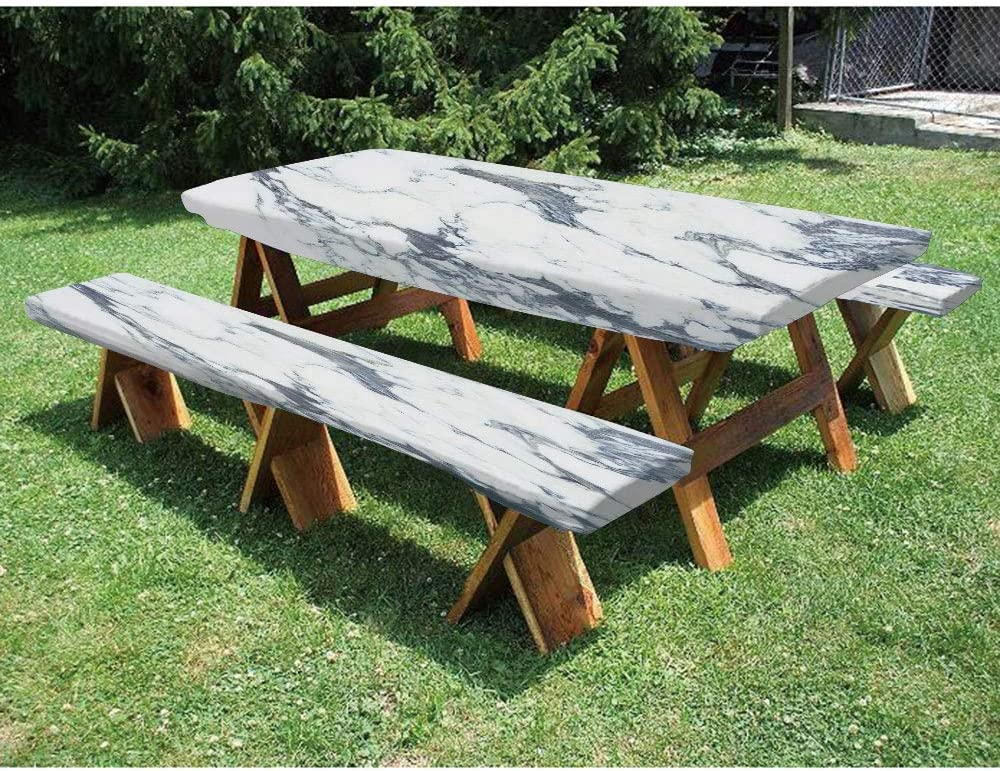 72 Polyester Picnic Table And Bench Fitted Tablecloth Antique Marble Textured Ocean Style Organic Granite Rock Formation Art Print Decorative 3 Piece Elastic Edged Table Cover For Christmas Parties P Home Kitchen Amazon Com