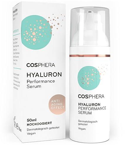 Cosphera - Hyaluron Performance Serum hochdosiert 50 ml - Hyaluronsäure Konzentrat Gel für Gesicht, Hals, Dekolleté und Augen