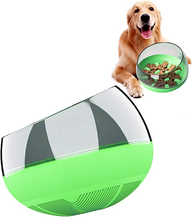 WeBingo Slow Feeder Bowls, Dog Food Bowl No Spill Tumbler Roly Poly Maze Puzzle for Pupples Cat Large Small Fast Eaters (Green)