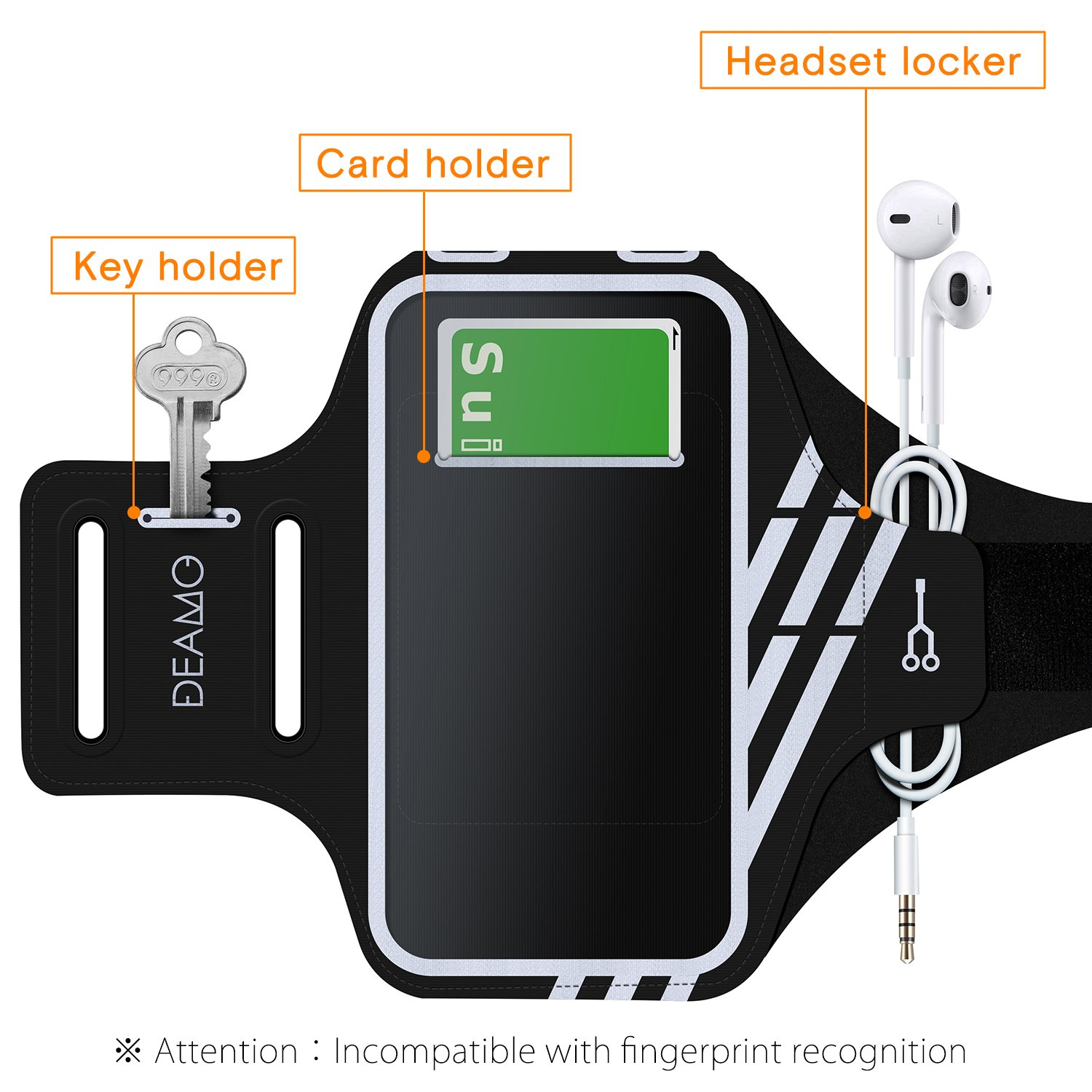 IPhone X, 8, 8+, 7, 7+, 6S, 6S+, 6, 6+ Samsung S8 S9 SPORTS Armband - Fingerprint Touch, Great for Running, Cycling or any Fitness Activity, Unique Hidden Pocket for Stores Cash, Cards and Keys. by Deamo (Image #4)