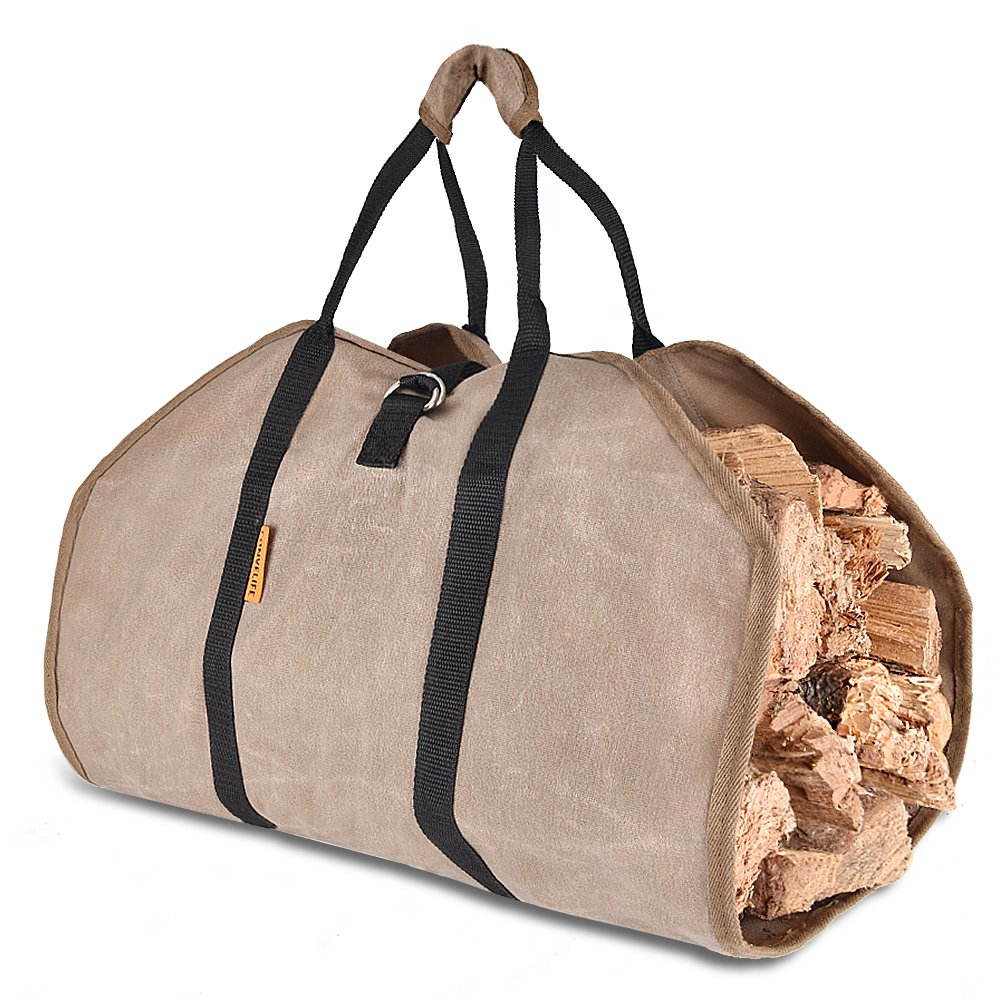 CONVELIFE Waxed Canvas Firewood Log Carrier-Tote Wood Carrying Bag for Woodpile Fireplace/Camp/Stove/Cabin Durable Heavy Duty Handle - Washed/Resistance soiling Outdoor Indoor (39''x18'') (Canvas)