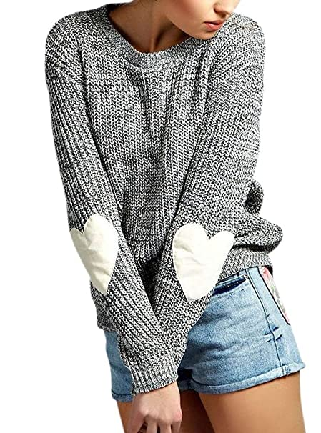 Meeshine Women Long Sleeve Round Neck Heart Pattern Patchwork Knits