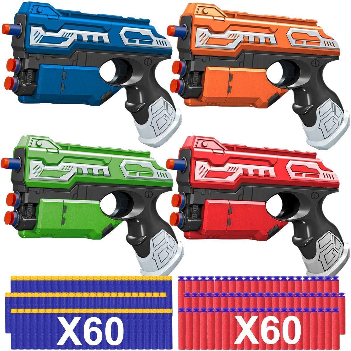 POKONBOY 4 Pack Blaster Guns Toy Guns for Boys Girls, Foam Dart Guns with 120 PCS Refill Bullets Hand Gun Toys for Kids 6 7 8 9 Birthday