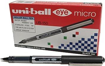 12 X UNIBALL EYE MICRO UB-150 ROLLER BALL PEN 0.5MM BLUE