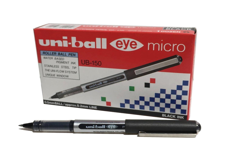 Penna rollerball UB-150 Eye Micro, inchiostro nero Uni-ball Super Ink, pennino da 0,5 mm, scatola da 12 pezzi 013089