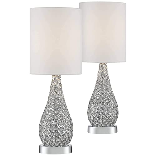 Kasey Modern Accent Table Lamps Set of 2 Crystal Bead Silver Gourd White Drum Shade for Living Room Family Bedroom Bedside – Possini Euro Design