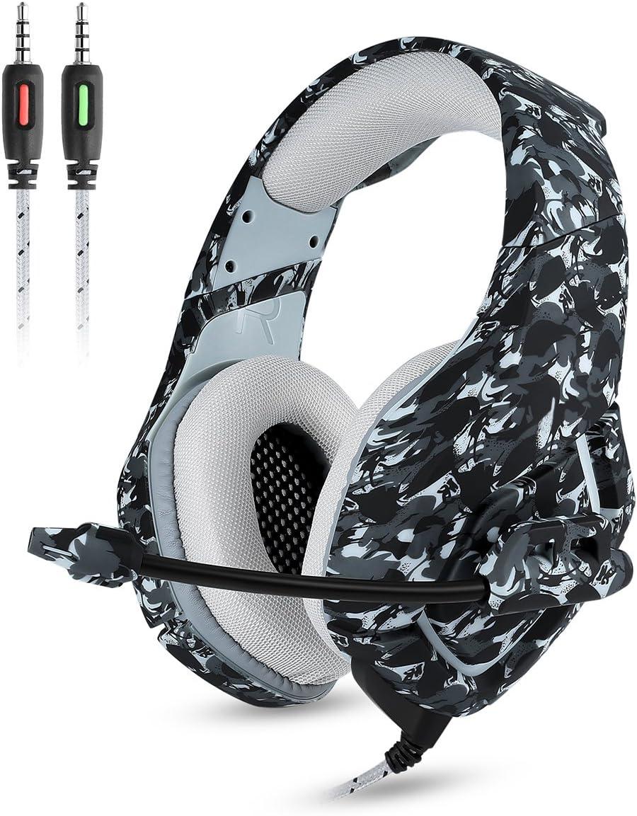 Auriculares Gaming Cascos para PS4 Xbox One Onikuma K1-B Auriculares de Juegos de Diadema con Micrófono, Sonido Estéreo, Control de Volumen, Cancelación de Ruido Gaming Headset (Camuflaje Gris)