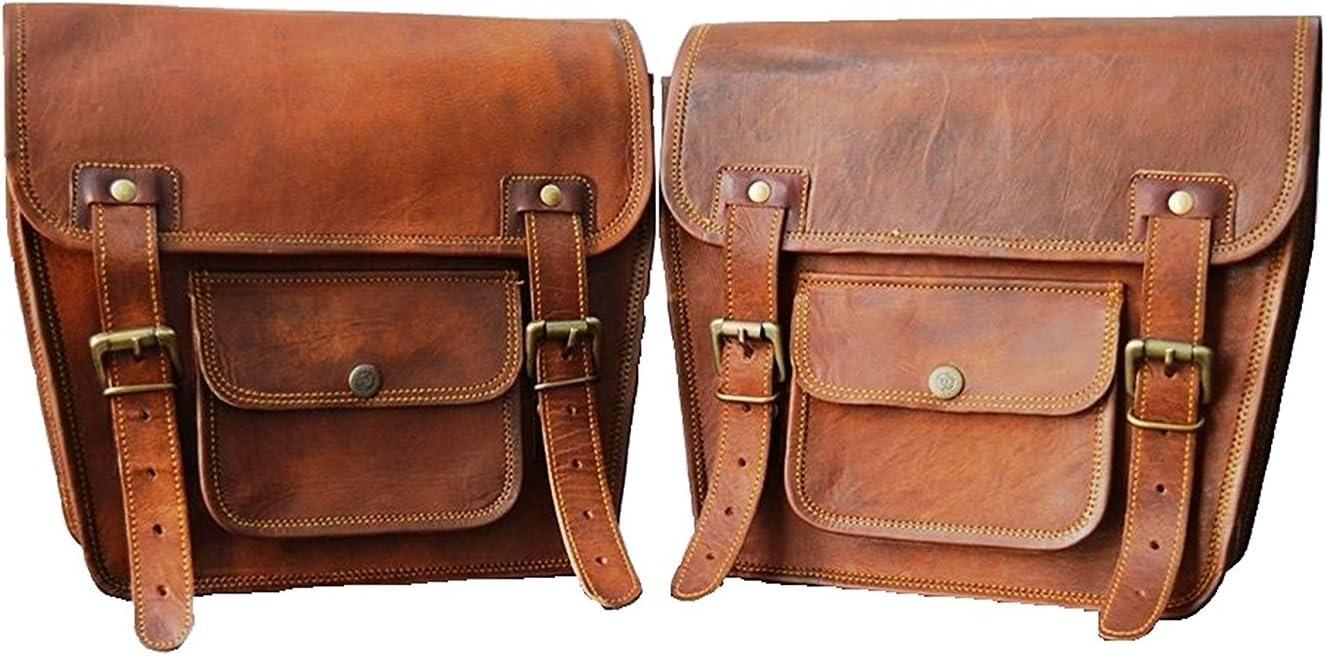 2 alforjas laterales de piel marrón para motocicleta (2 bolsas)