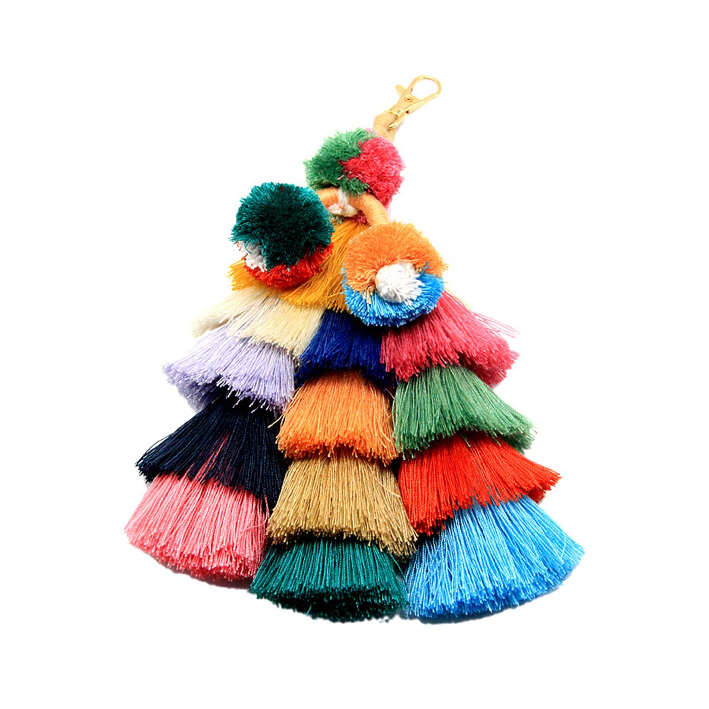 Colorful Bohemian Handmade Big Pompom Tassels Bag Pendant, Charm Keychain Car Accessories (K-002)